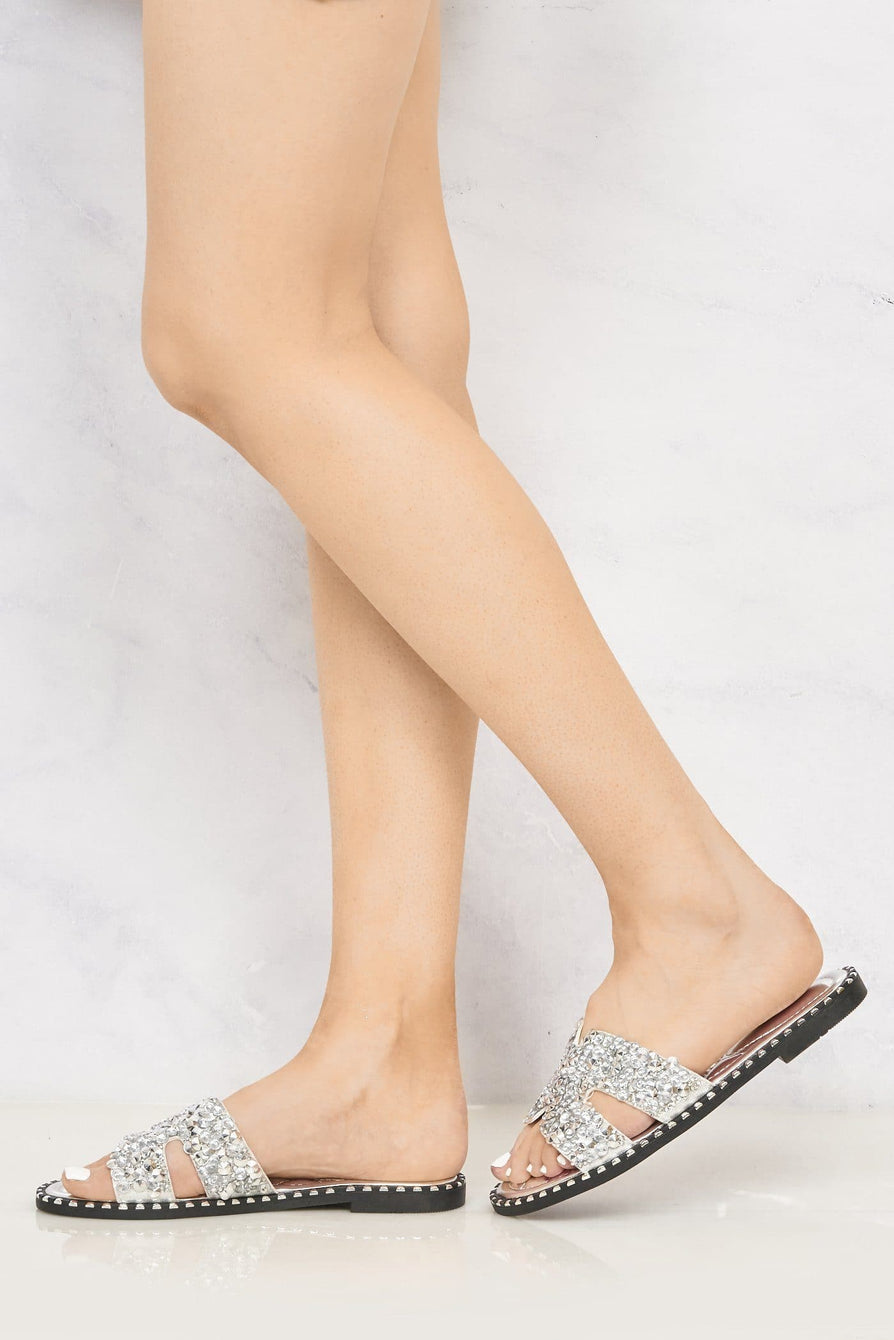 Santorini Gem Stone Cut Out Open Toe Sliders With Stud Trim Sole in Silver Flats Miss Diva Silver 7