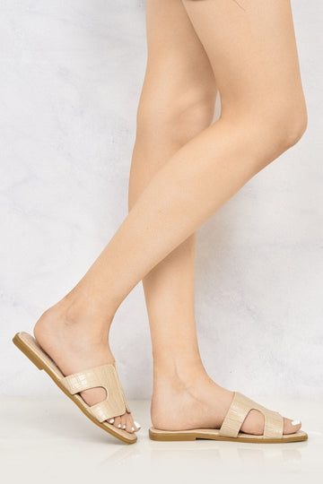 Chloe Cut Out Croc Style Open Toe Flat Sliders in Beige Croc