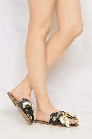 Paris Chain Print Silk Bow Open Toe Flat Sliders in Black