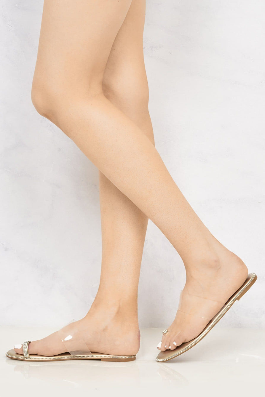 Majorca Diamante Edge Clear Slider With Toe Ring in Gold Flats Miss Diva Gold 5