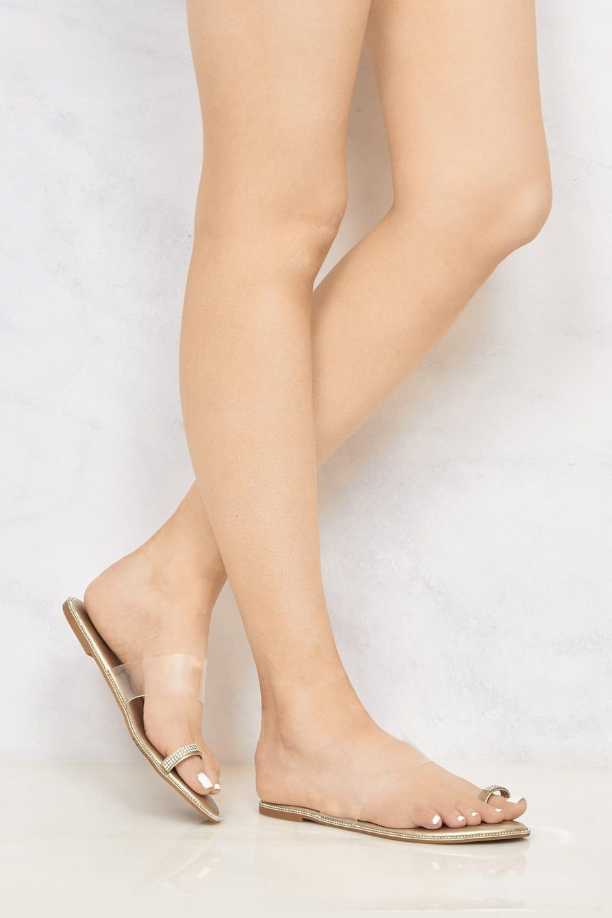 Majorca Diamante Edge Clear Slider With Toe Ring in Gold Flats Miss Diva Gold 6