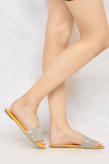 Barbados Diamante Front Strap Open Toe Slider in Orange