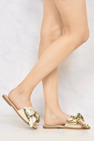 Paris Chain Print Silk Bow Open Toe Flat Sliders in Nude