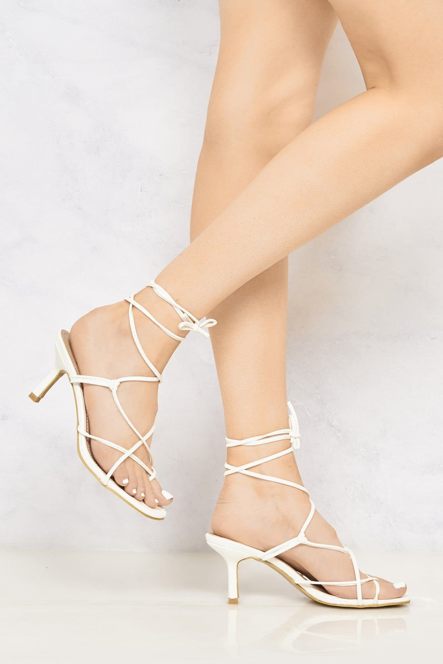 Melissa Mid Heel Lace Up Strap Cross Front Open Toe Sandal In White Heels Miss Diva
