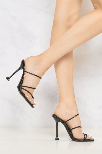 Mariana Toe Ring Strappy Stiletto Mule in Black Clearance Miss Diva