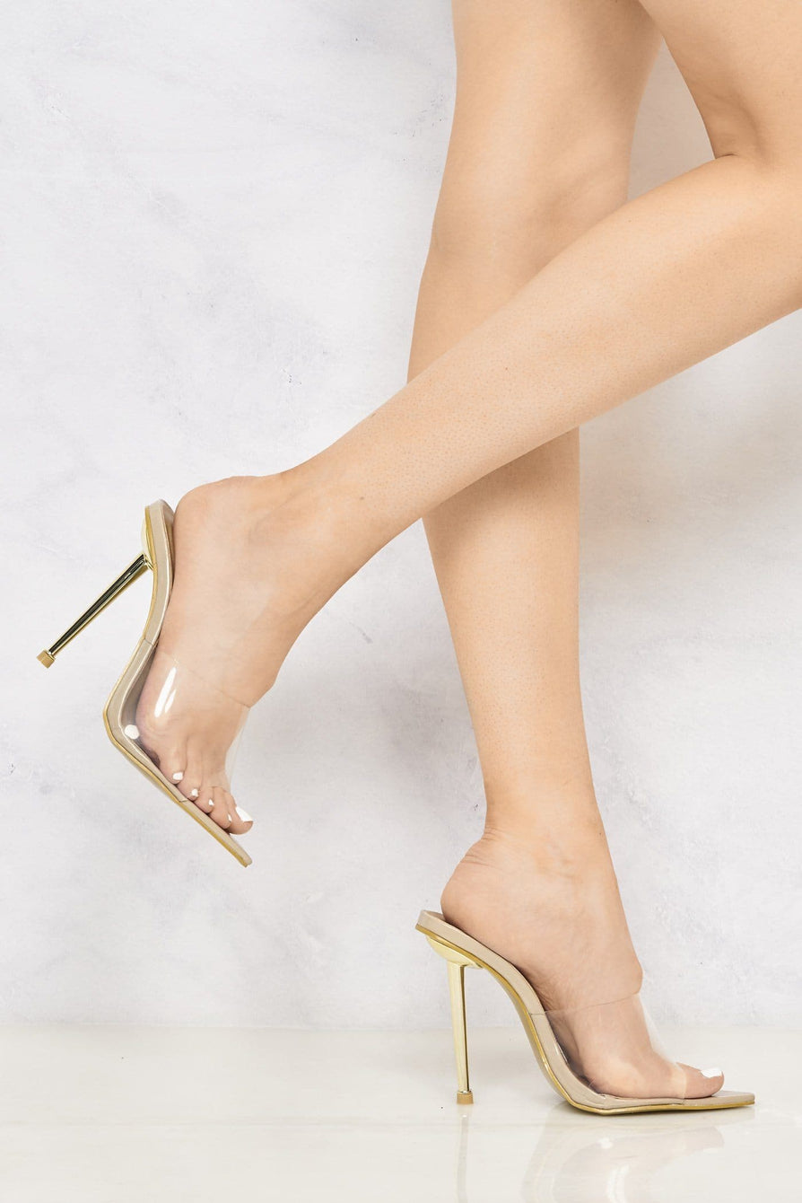 Nadia Pointed Toe Perspex Gold Stiletto Heel Mule in Nude Patent