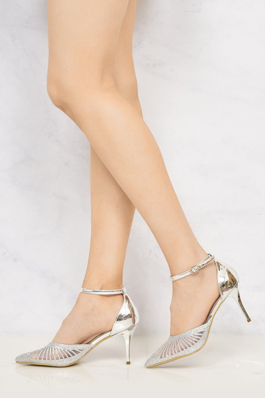 Singapore Mesh Diamante Ankle Strap Closed Toe High Metallic Heel In Silver