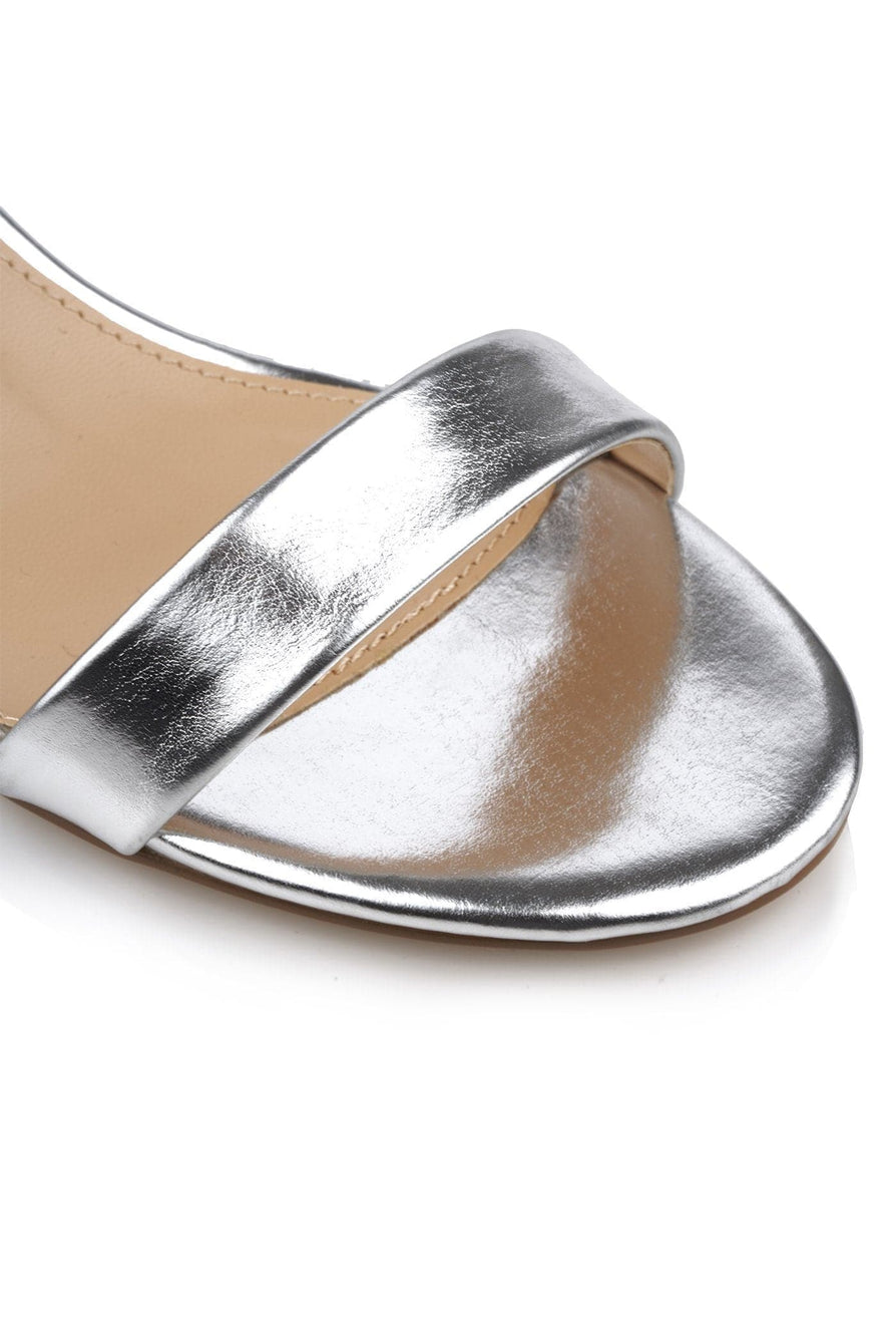 Karley Barely There Ankle Strap Block Heel Sandal In Silver Matt Heels Miss Diva
