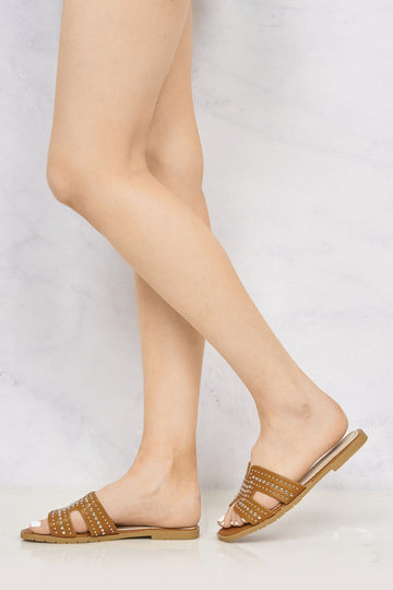 Helena Cut Out Stud Detail Open Toe Flat Slider in Tan