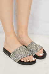 Jessica Large Front Diamante Open Toe Slider in Black