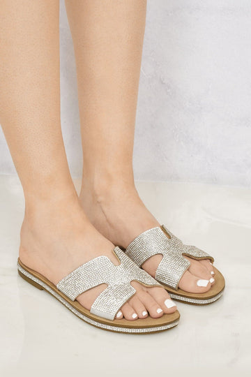 Mauritius Diamante Cut Out Open Toe Sliders in Silver