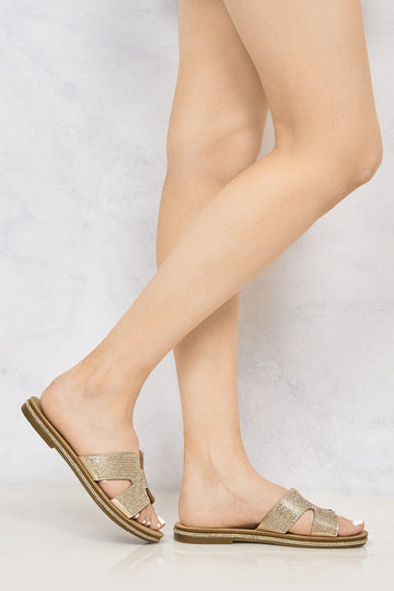 Mauritius Diamante Cut Out Open Toe Sliders in Rose Gold