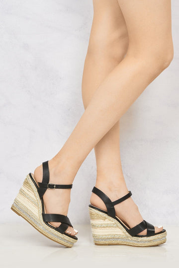 Laila Espadrille Open Toe Diamante Detail Anklestrap Wedge in Black
