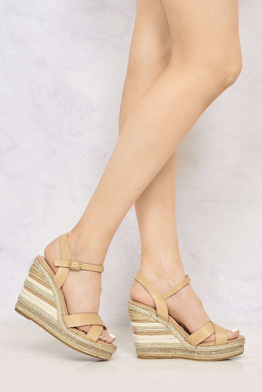 Laila Espadrille Open Toe Diamante Detail Anklestrap Wedge in Tan Sandals Miss Diva Tan 5