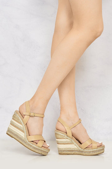Laila Espadrille Open Toe Diamante Detail Anklestrap Wedge in Tan