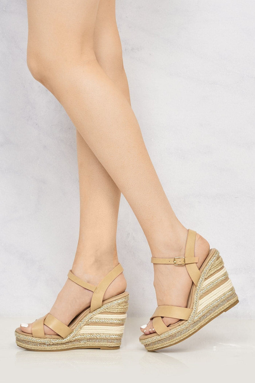 Laila Espadrille Open Toe Diamante Detail Anklestrap Wedge in Tan Sandals Miss Diva Tan 4