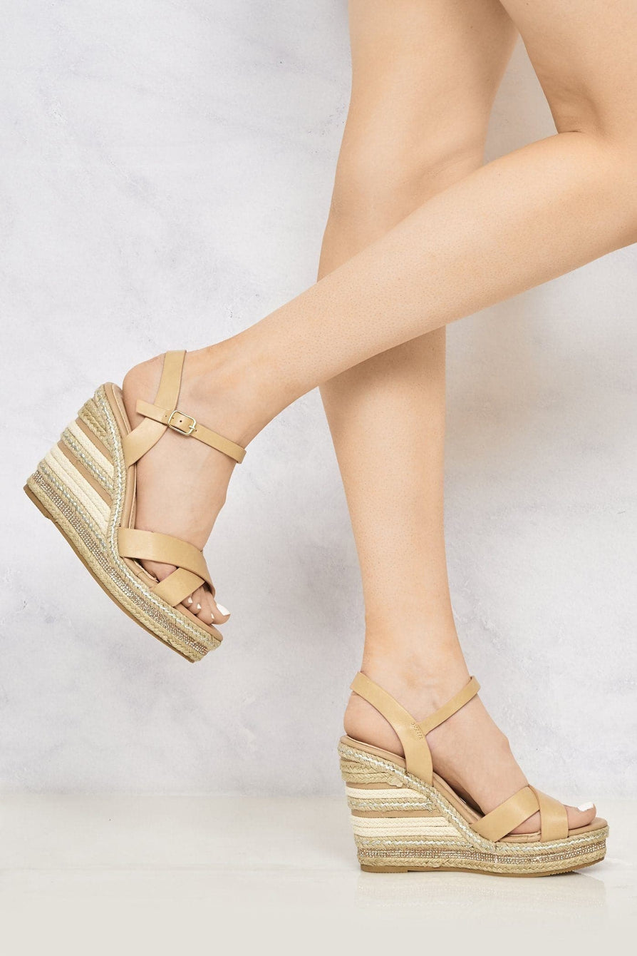 Laila Espadrille Open Toe Diamante Detail Anklestrap Wedge in Tan Sandals Miss Diva Tan 6