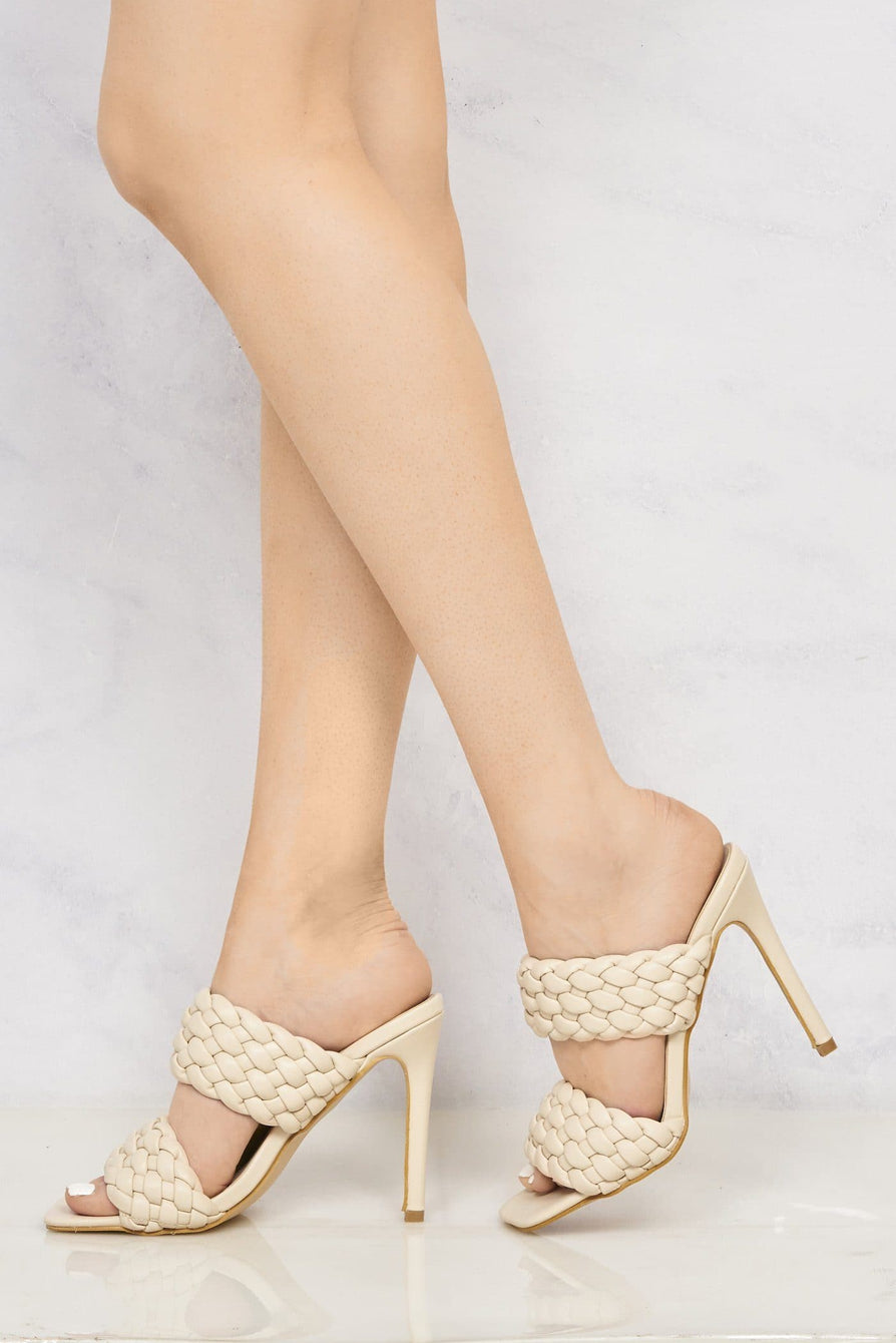 Vixen Open Toe Double Strap Plait Detail High Heel Mule in Nude