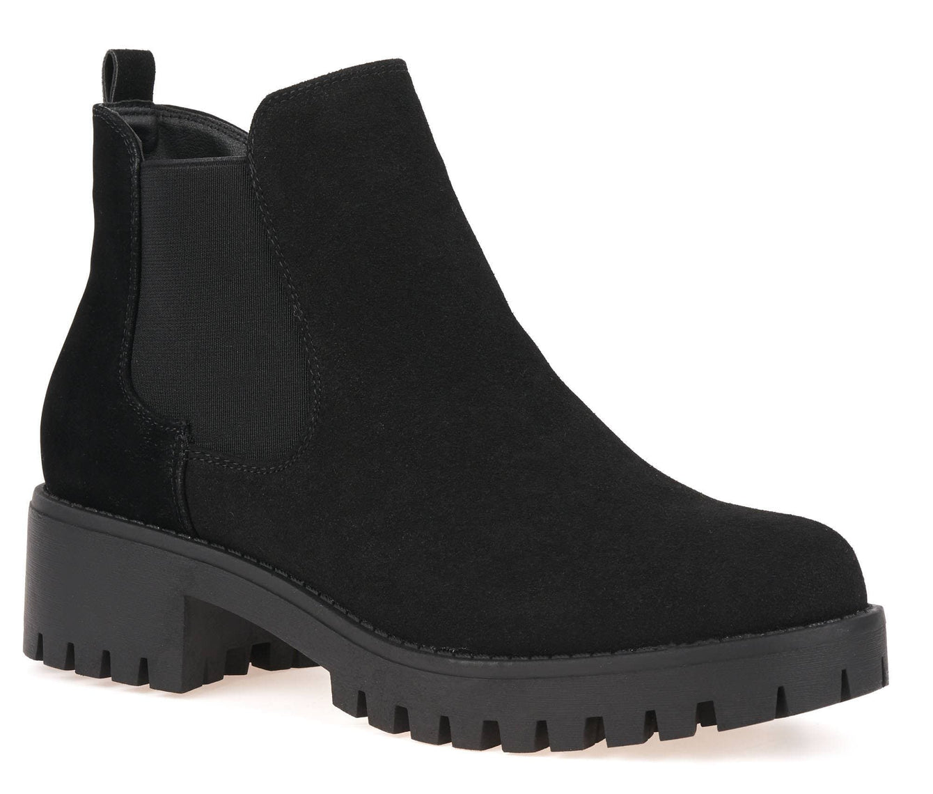 Elastic Cleated Sole Ankle Boot in Black Suede