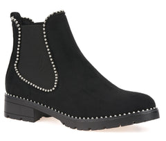 Stud Detailing Sole Ankle Boot in Black Suede