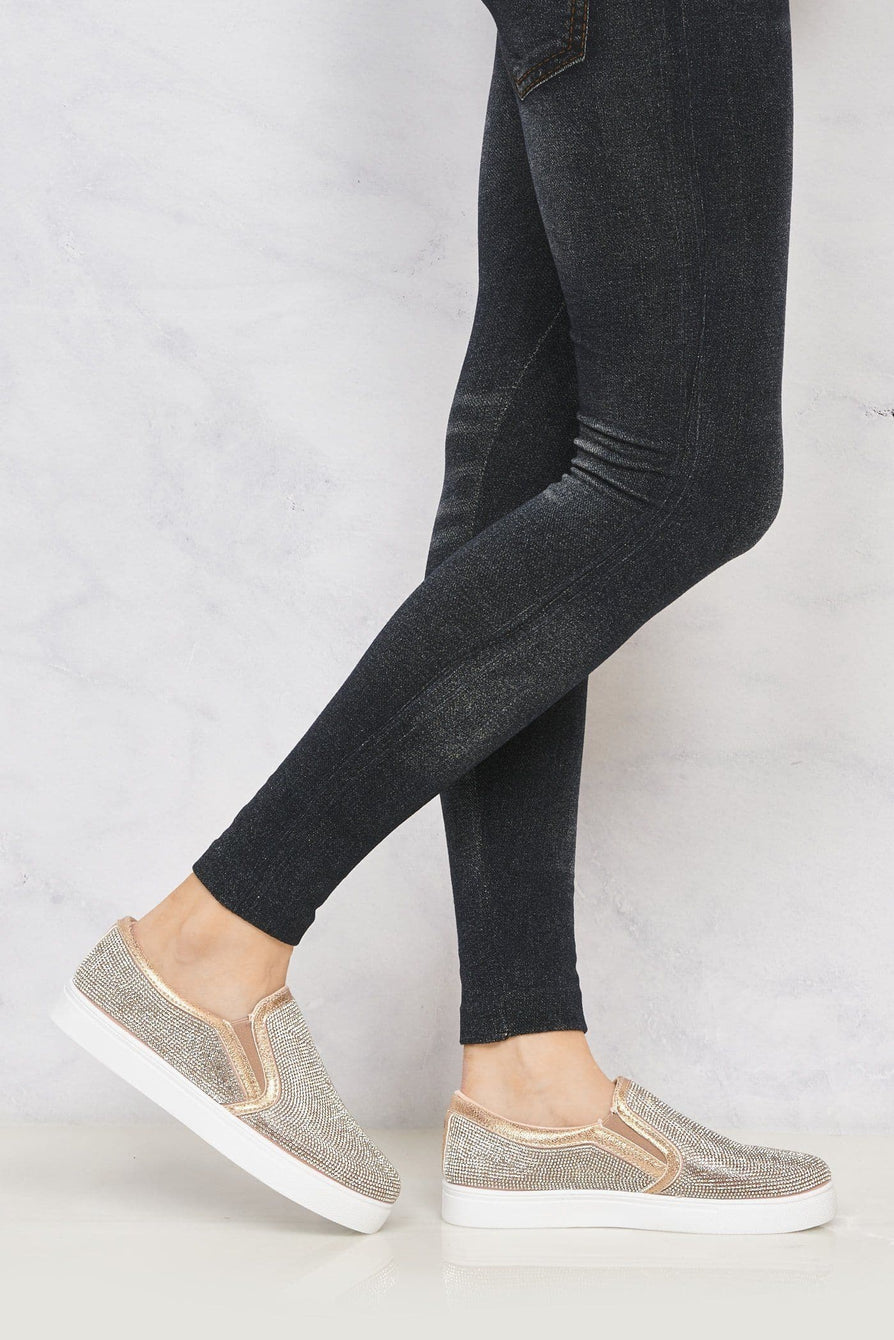 Nadine All Over Diamante Slip On Trainer in Rose Gold