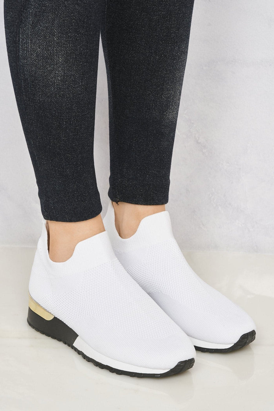 Arizona Slip On Sock Trainer With Gold Detail in White Trainers Miss Diva White 5