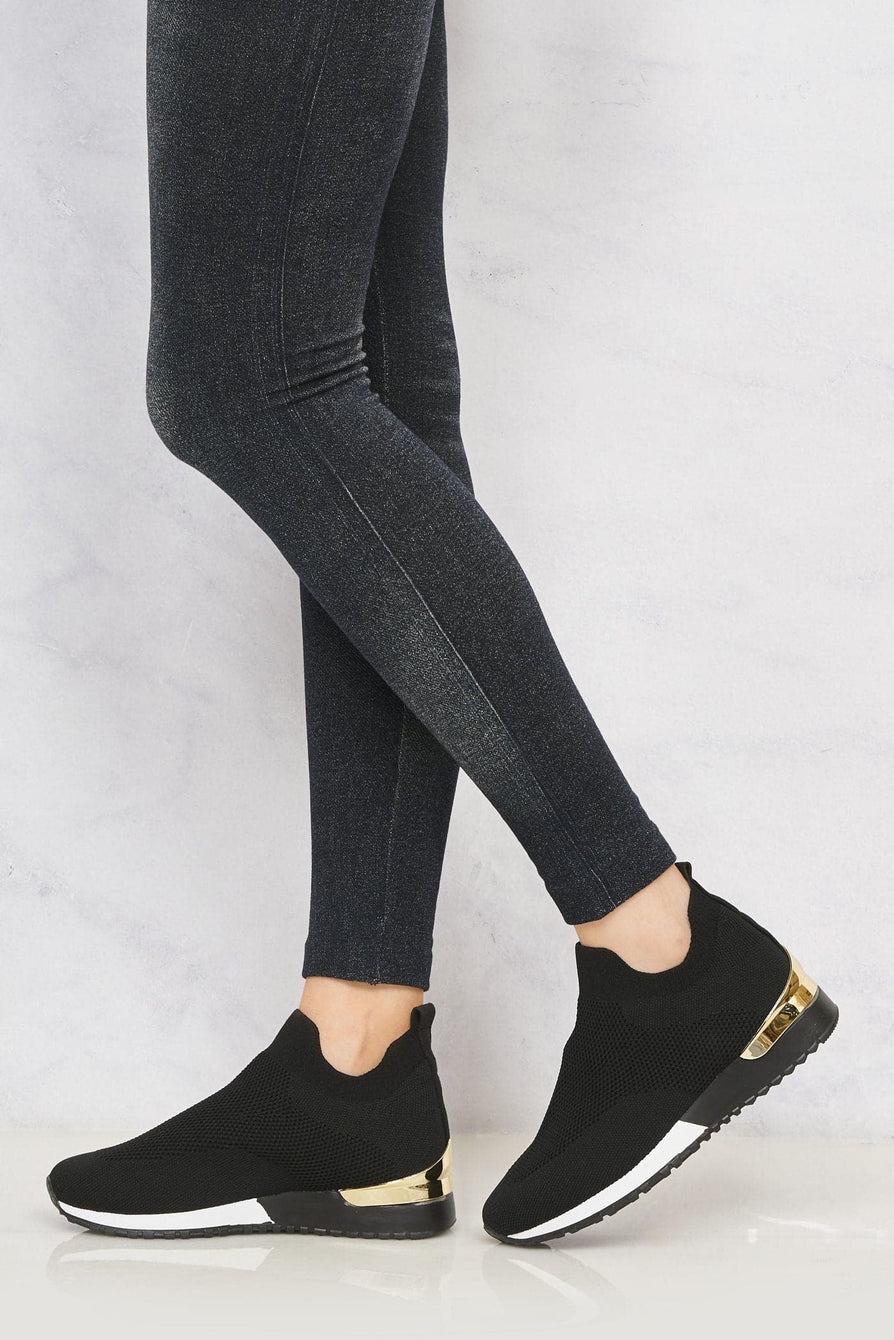 Arizona Slip On Sock Trainer With Gold Detail in Black Trainers Miss Diva Black 4