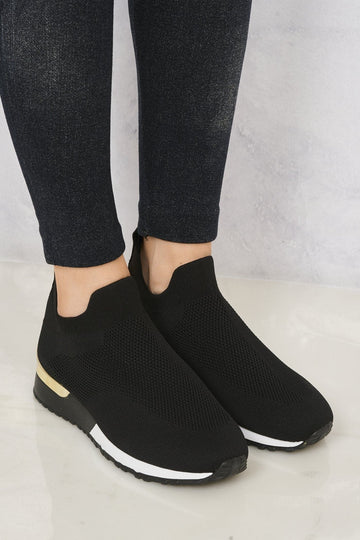 Arizona Slip On Sock Trainer With Gold Detail in Black