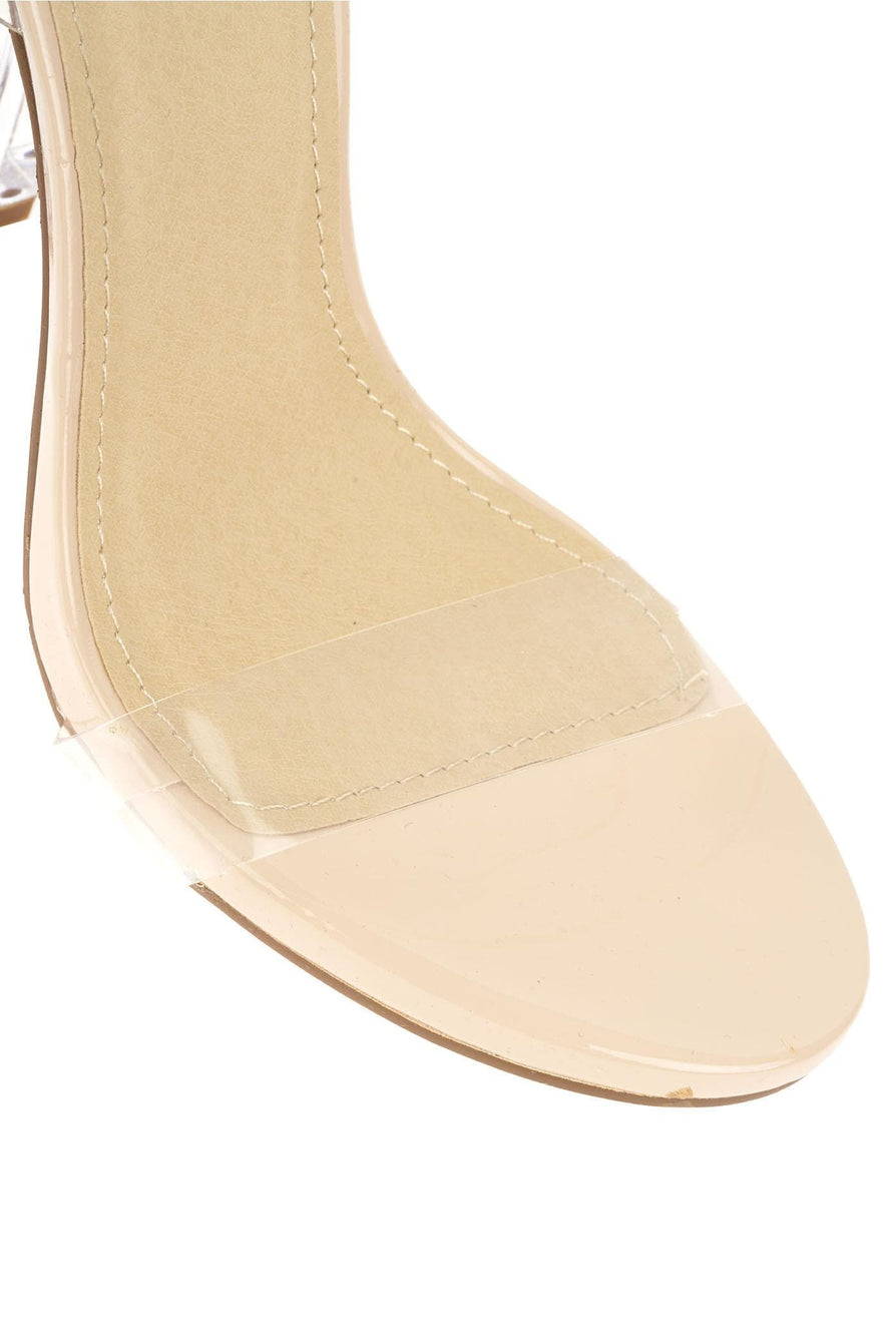 Glass Block Heel Perspex Sandal in Nude Patent