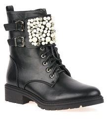 Pearl Band & Buckle Biker Boot in Black