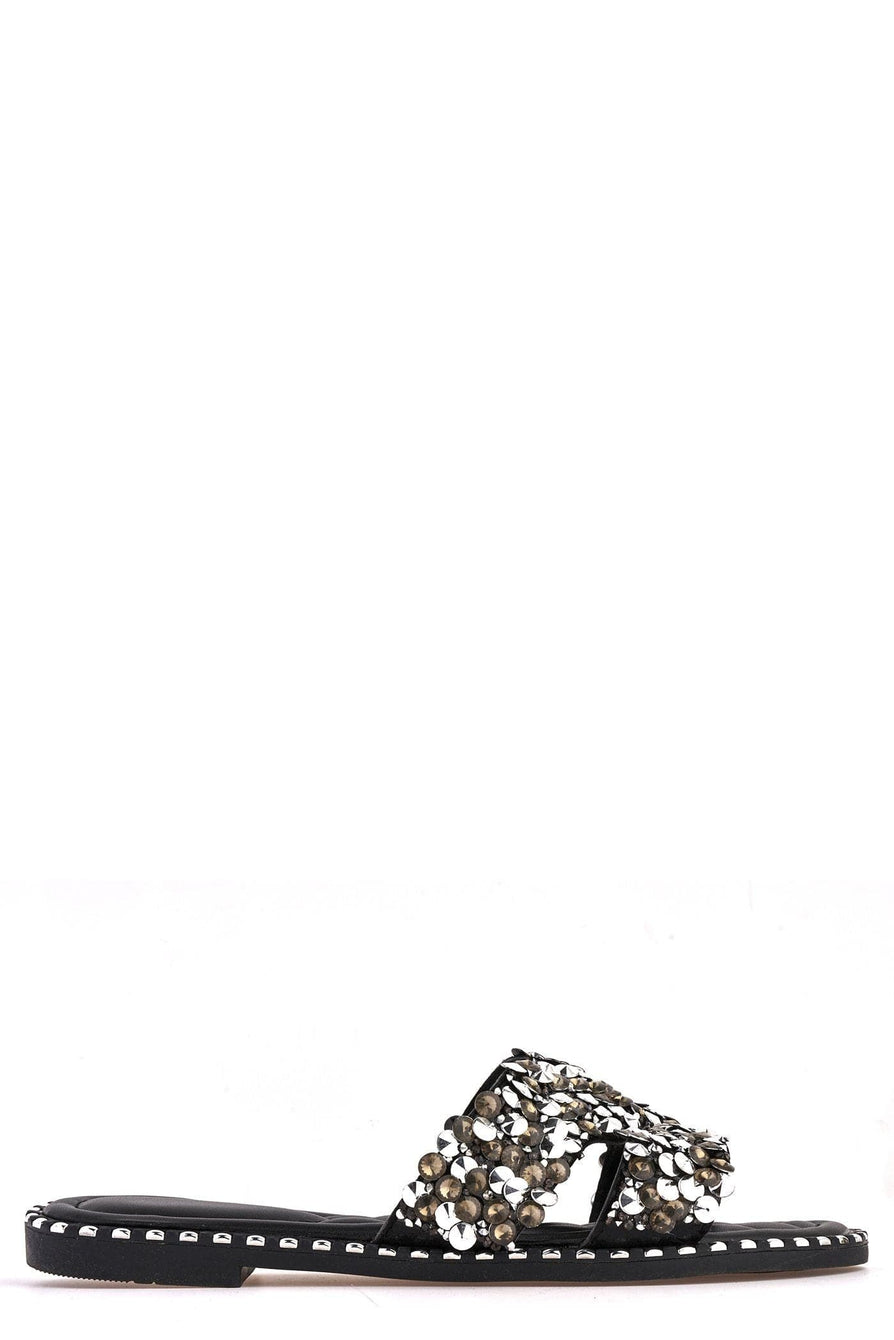 Santorini Gem Stone Cut Out Open Toe Sliders With Stud Trim Sole in Black Flats Miss Diva Black 3