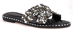 Santorini Gem Stone Cut Out Open Toe Sliders With Stud Trim Sole in Black Flats Miss Diva Black 5
