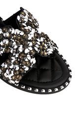 Santorini Gem Stone Cut Out Open Toe Sliders With Stud Trim Sole in Black Flats Miss Diva Black 8