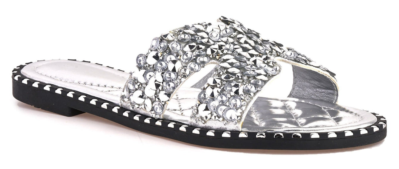 Santorini Gem Stone Cut Out Open Toe Sliders With Stud Trim Sole in Silver Flats Miss Diva Silver 3