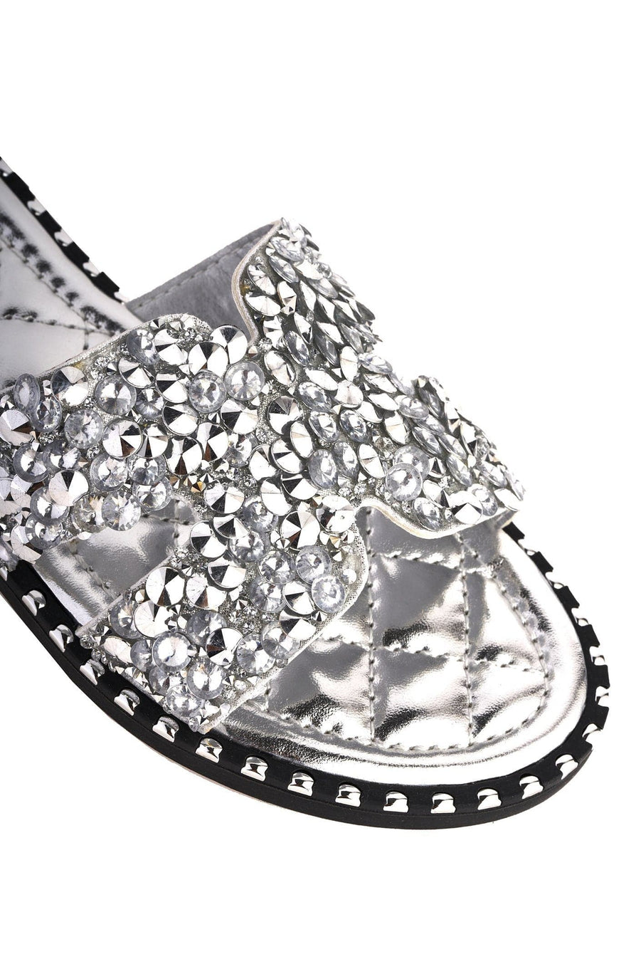 Santorini Gem Stone Cut Out Open Toe Sliders With Stud Trim Sole in Silver Flats Miss Diva Silver 8