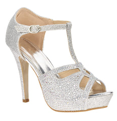 Catwalk T Bar Diamante Platform Sandal in Silver