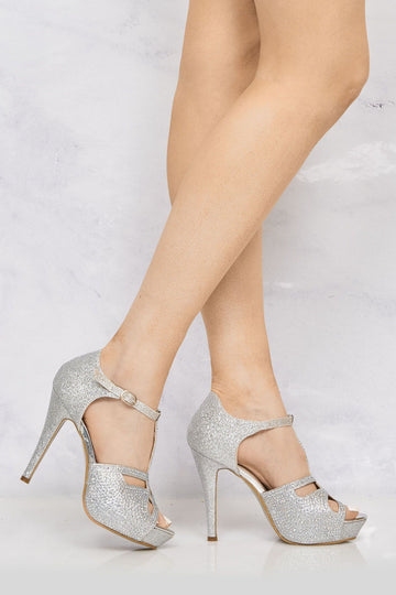 T Bar Diamante Platform Sandal in Silver