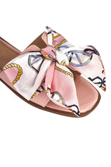 Paris Chain Print Silk Bow Open Toe Flat Sliders in Pink