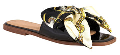 Paris Chain Print Silk Bow Open Toe Flat Sliders in Black Flats Miss Diva Black 5