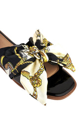 Paris Chain Print Silk Bow Open Toe Flat Sliders in Black Flats Miss Diva Black 6