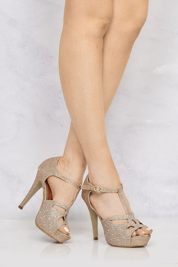 Catwalk T Bar Diamante Platform Sandal in Champagne