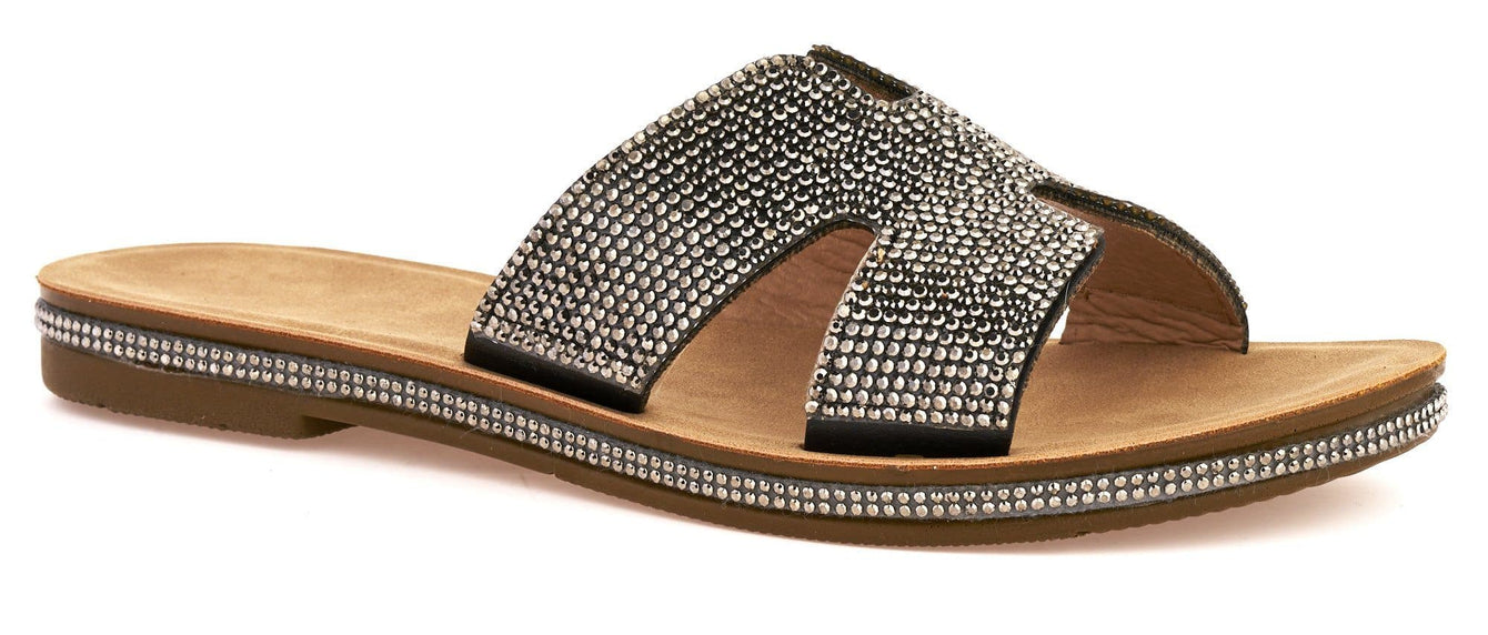 Mauritius Diamante Cut Out Open Toe Sliders in Black Flats Miss Diva