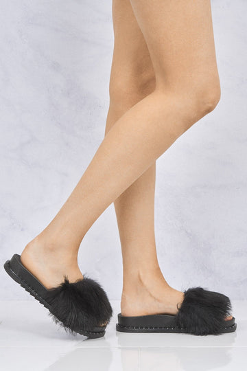 Bubbly Studded Trim Sole Fur Slider in Black