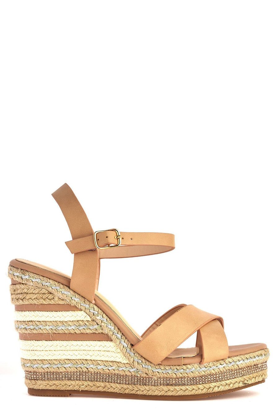 Laila Espadrille Open Toe Diamante Detail Anklestrap Wedge in Tan Sandals Miss Diva Tan 3