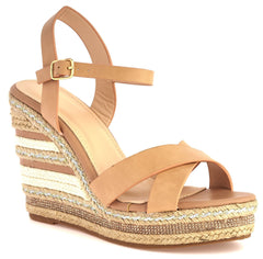 Laila Espadrille Open Toe Diamante Detail Anklestrap Wedge in Tan Sandals Miss Diva Tan 8