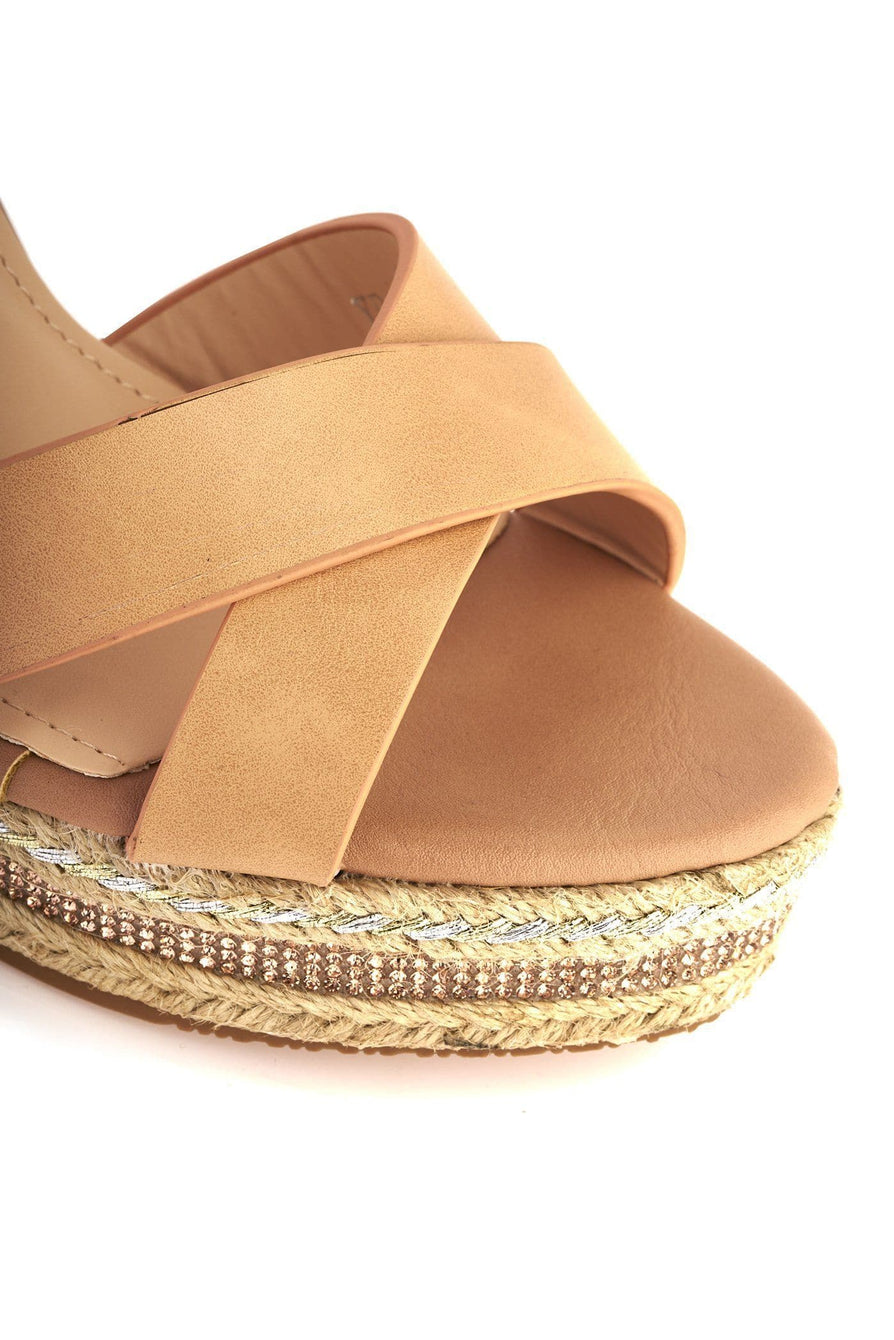 Laila Espadrille Open Toe Diamante Detail Anklestrap Wedge in Tan Sandals Miss Diva Tan 7