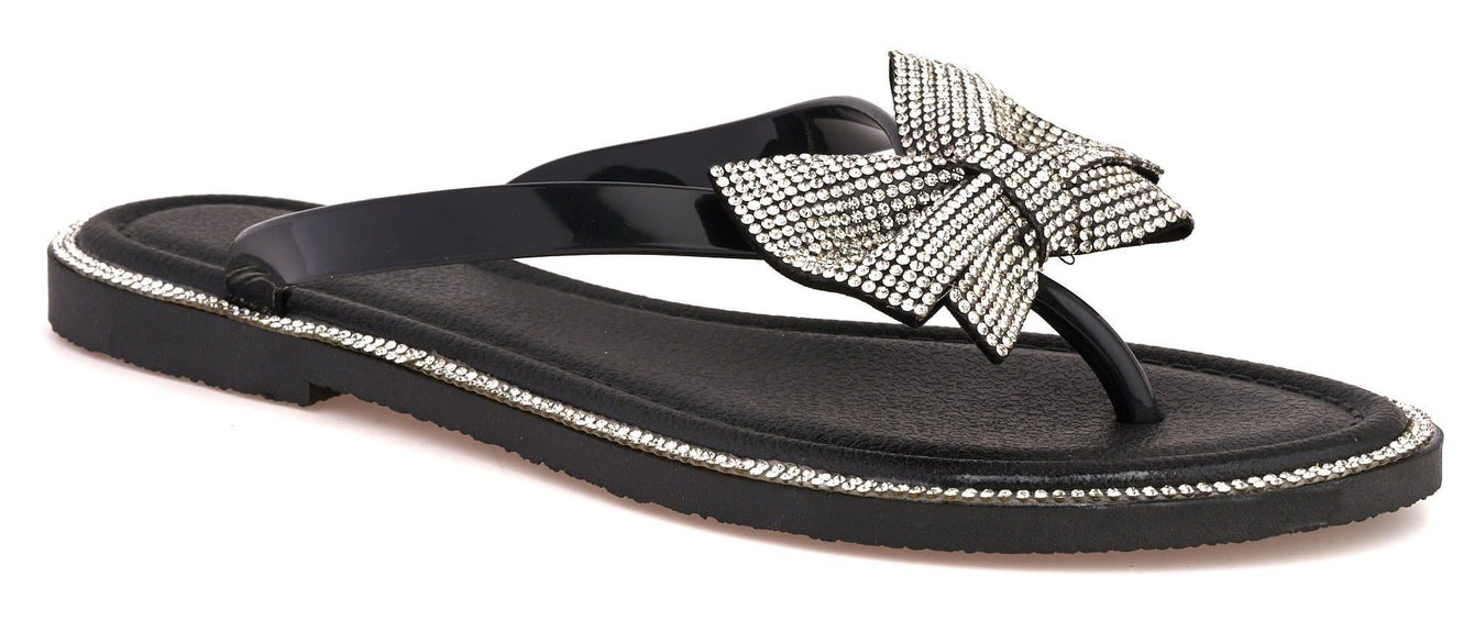 Seychelles Diamante Detail Bow Flip Flop in Black Sandals Miss Diva Black 4