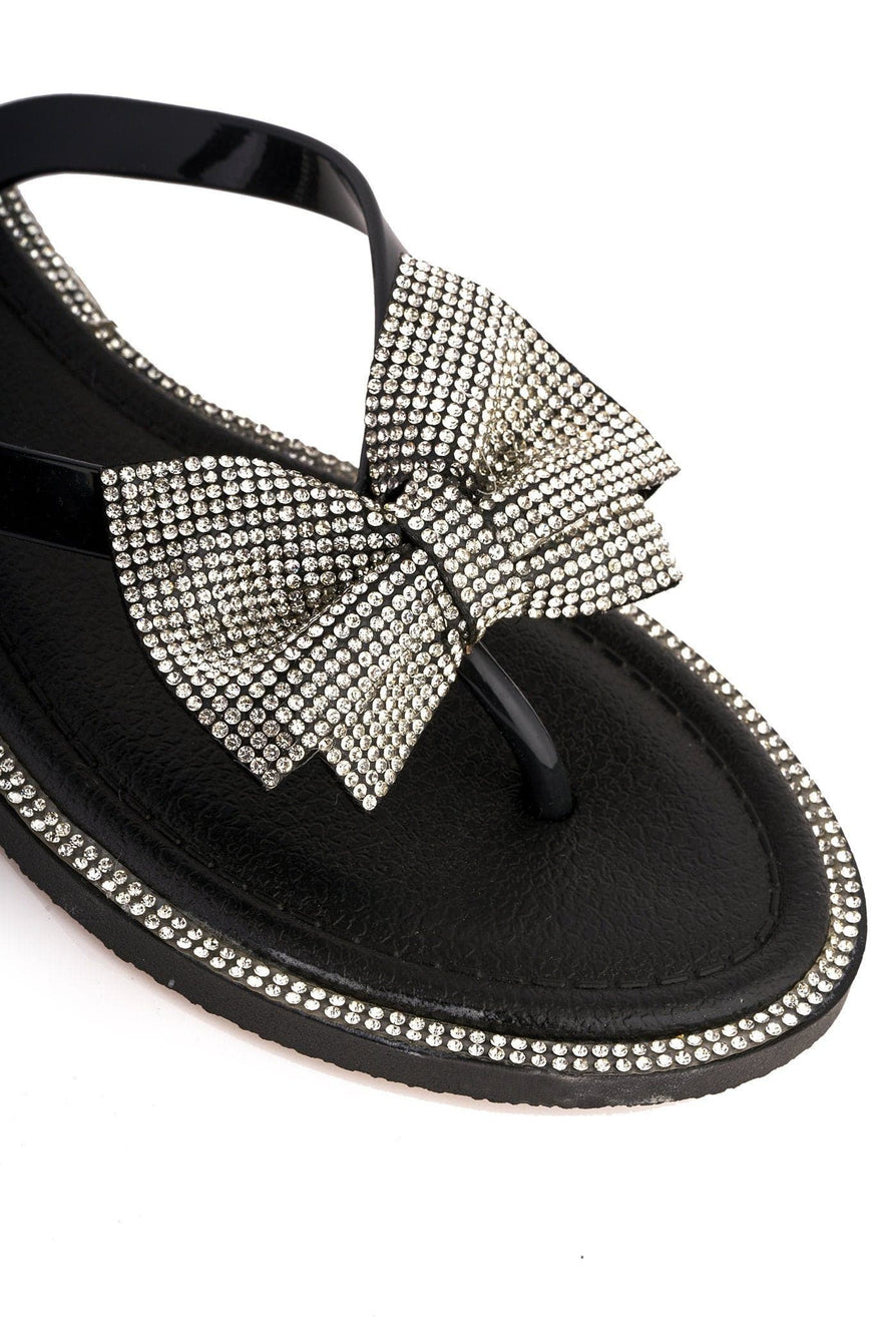 Seychelles Diamante Detail Bow Flip Flop in Black Sandals Miss Diva Black 8