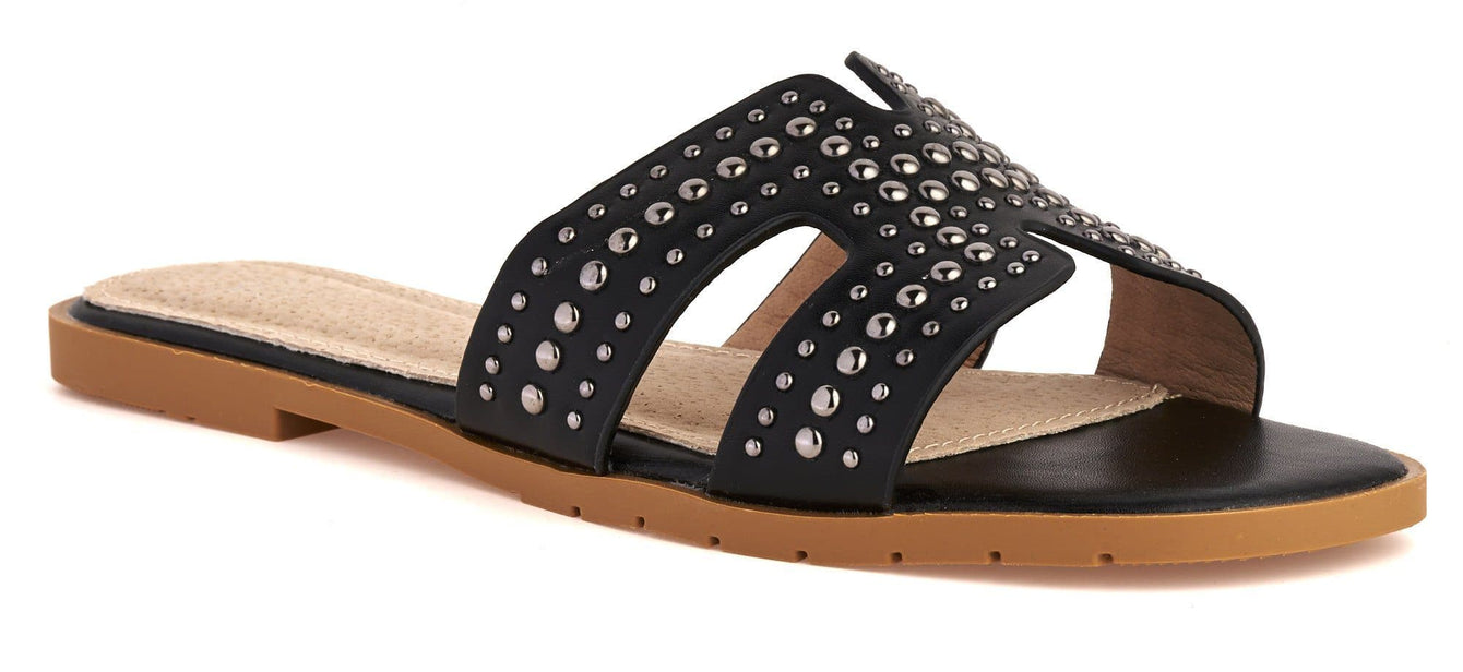 Helena Cut Out Stud Detail Open Toe Flat Slider in Black Flats Miss Diva