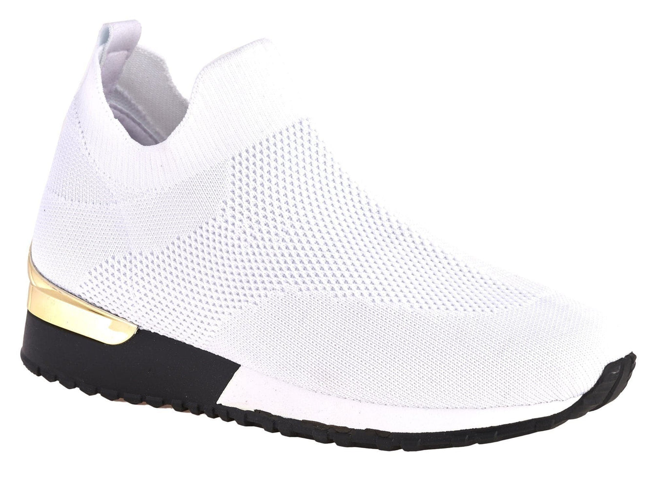Arizona Slip On Sock Trainer With Gold Detail in White Trainers Miss Diva White 7